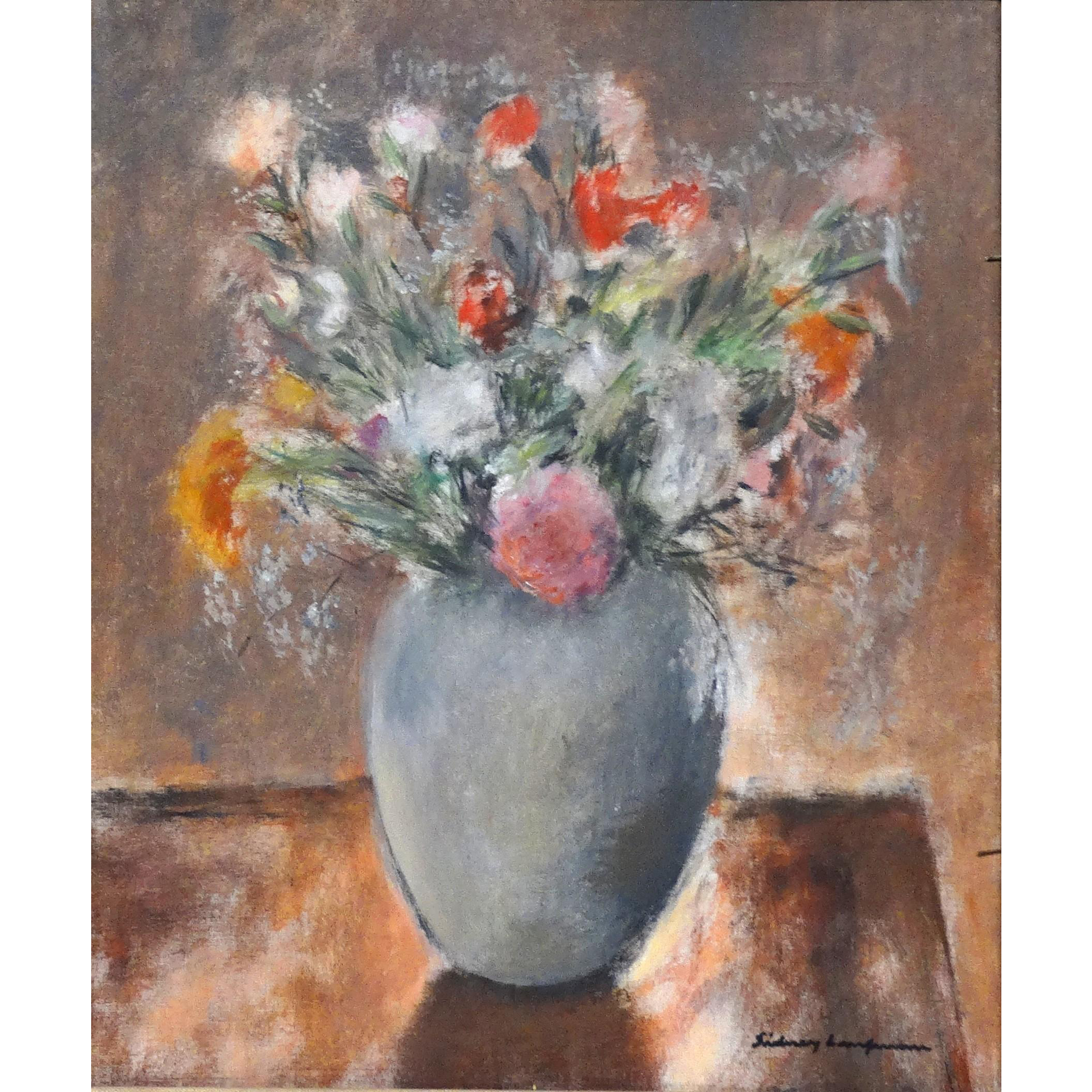 """Sidney Laufman, Well-Listed Florida Artist  - Original Oil Painting - """"Bouquet Of Flowers In A Vase"""" -  Signed"""