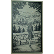 """Original Ink Drawing """"A Beautiful View"""" by Erich Simon, Signed, c 1910"""