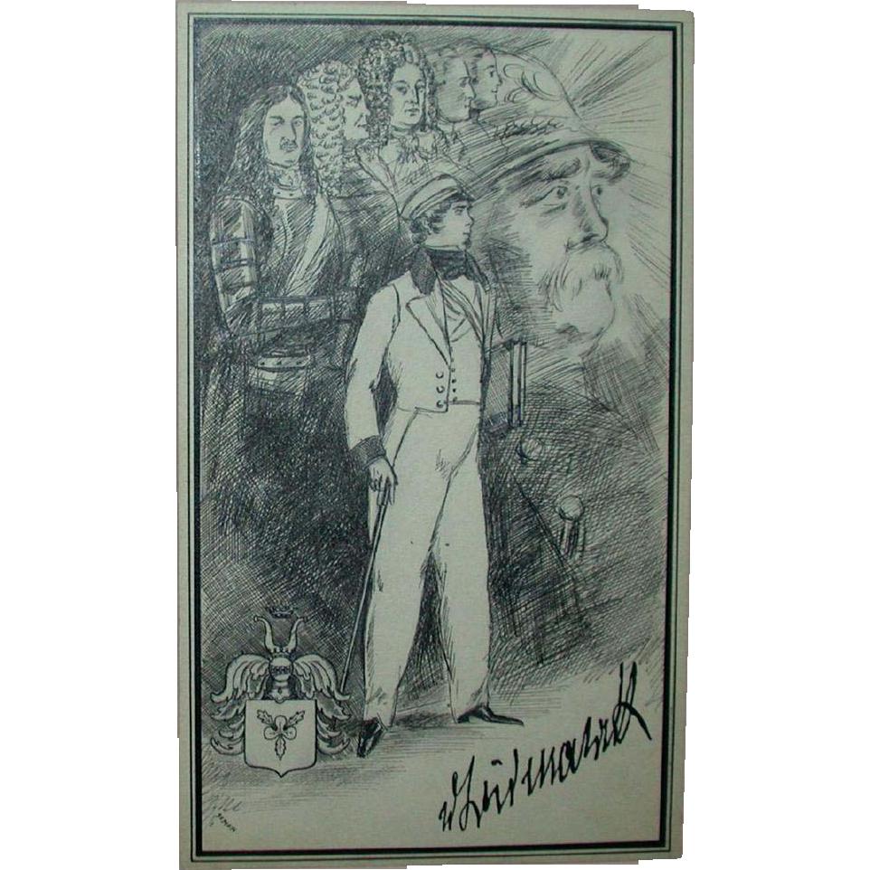 """Original Ink Drawing """"Otto von Bismarck"""" by Erich M. Simon, c. 1910"""