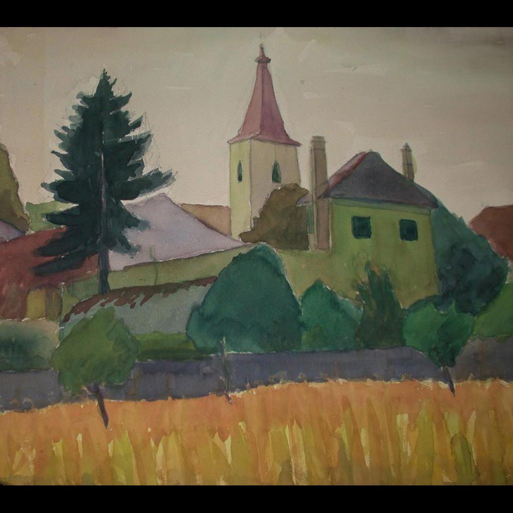 "Original Watercolor - ""The Village"" - by Viennese Secessionist, Listed Artist Rudolf Petrik, c 1946!"