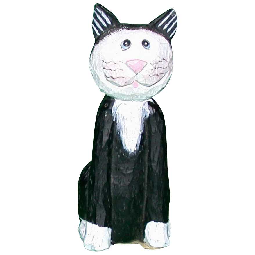 Darling Folk Art Primitive Hand-Carved Hand-Painted Wood Cat