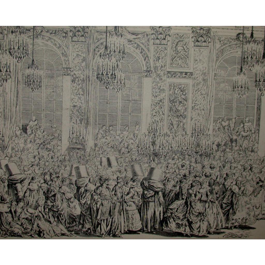 "Fabulous Charles-Nicolas Cochin Le Fils ""Decoration Du Bal Masque"" - 18th Century (1746)"