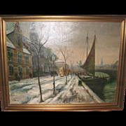 Oil On Canvas - Street Scene by Listed Danish Artist Ove Svenson