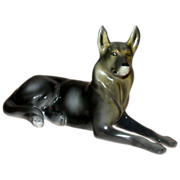 German Shepherd, Alsatian, Porcelain From Hungary