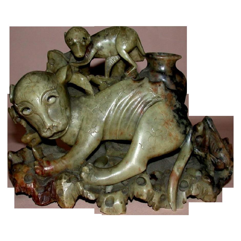 Fascinating  Asian Hardstone Carving Of Dog-Like Animals