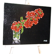 "Original Oil Painting - ""Bougainvillea In A Glass"" - Signed, Paul Herman"