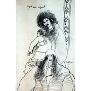 """Outstanding Original Drawing by Theo Tobiasse, """"Couple Avec Enfant"""" - Signed and Titled By Artist"""