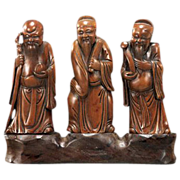 Set Of Three Finely Carved Wood Chinese Star Gods