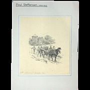 Original Antique Drawing by Poul Steffensen (1866-1923), Dated 1901