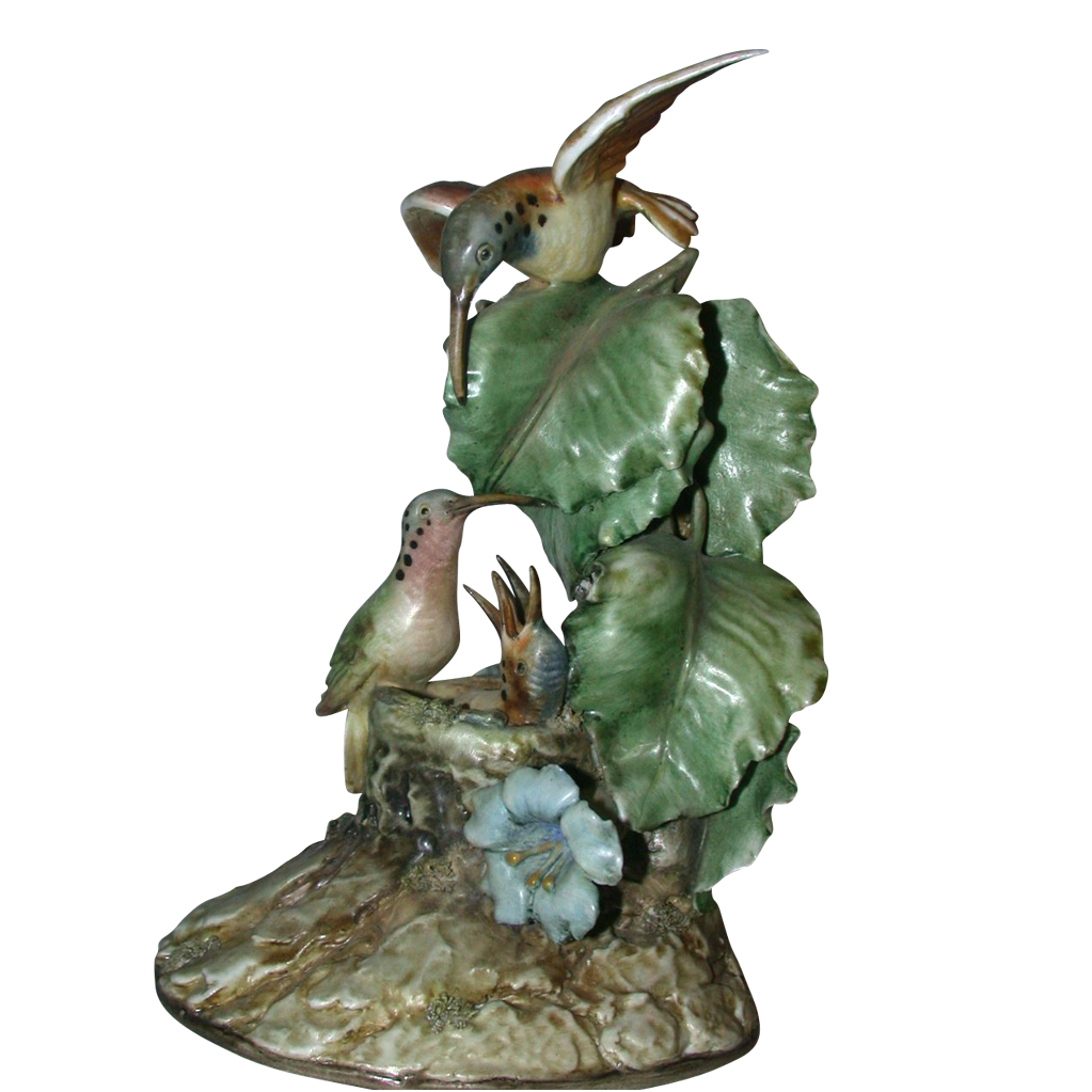 "Borsato ""Hummingbirds"" - Large Multi-Figural Incredibly Detailed Porcelain Sculpture"