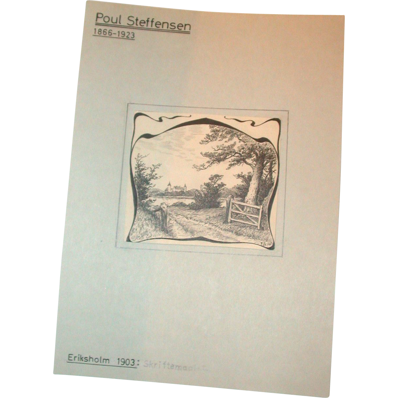 Poul Steffensen (1866-1923) - Original Antique Pencil, Pen and Watercolor Drawing on Paper, Circa 1903