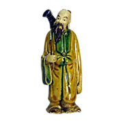 Chinese Mudman Scholar or Affluent Citizen With Instrument, Circa 1930