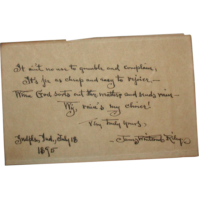 Signed Hand-Written Poem In Dialect By Well-Listed American Author James Whitcomb Riley (October 1849 – July 1916) dated July 18,1895
