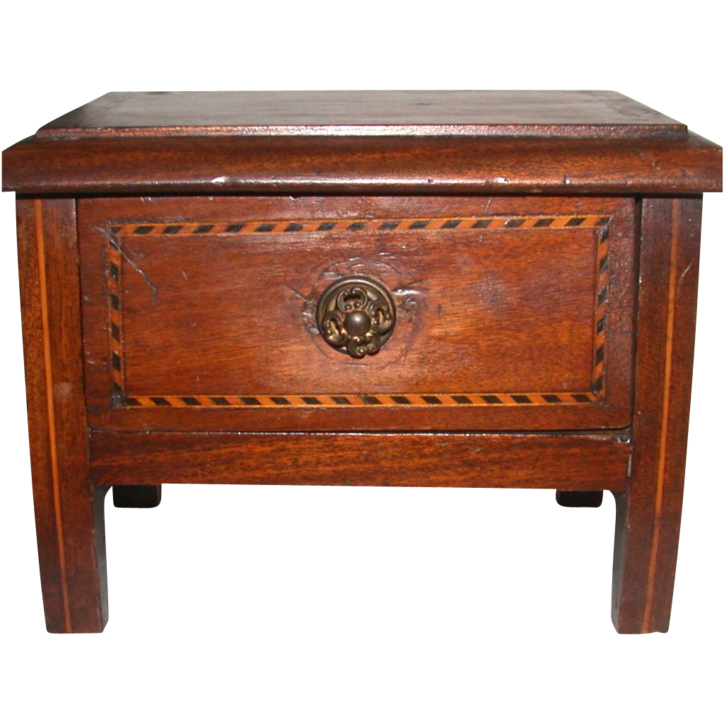Carved Mahogany Diminutive Chest With Inlaid Parquetry