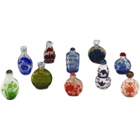 10 Chinese Carved Overlay Glass Snuff Bottles, all mid 1900s