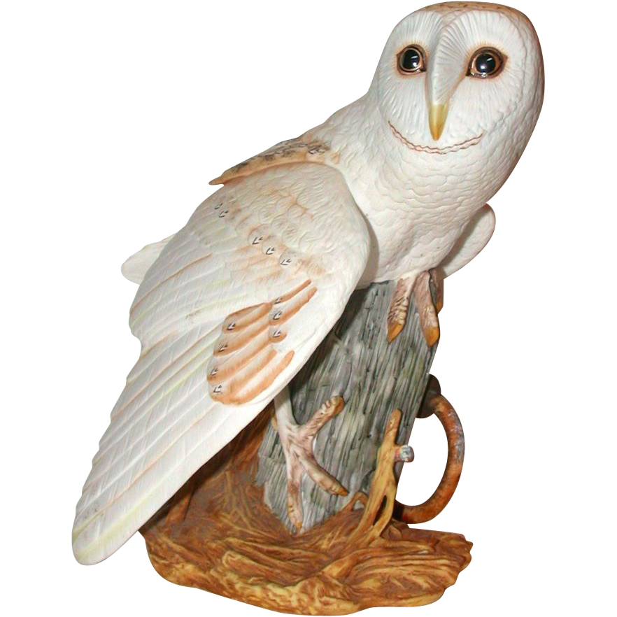 """Franklin Mint - """"The Barn Owl"""" by George McMonigle - Fine Hand-Painted Porcelain Circa 1987"""