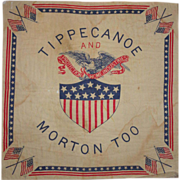 "Benjamin Harrison Presidential Ephemera - Campaign Handkerchief  ""Tippecanoe and Morton Too""  Circa 1888"