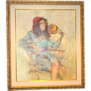 "Original Signed Watercolor ""Woman Relaxing"" by Well-Listed Artist Richard Jerzy , (1944 - 2001)"