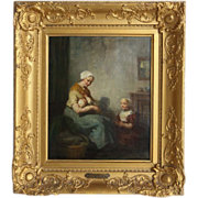 "B. J. Blommers (Dutch, 1845-1914) ""Mother's Joy"" - Original Antique Oil On Canvas by Well-Listed Artist"