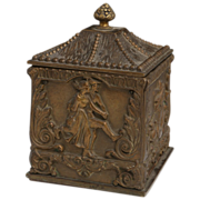 Antique German Bronze Tea Caddy, Great Images In High Relief, Circa late 1800s.