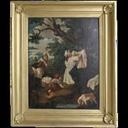"George Morland (British, 1763-1804) Original Oil - ""Hanging The Laundry"""