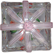 "STEVEN LUNDBERG - Personally Signed 1993 ""The Gift"" Crown In Crystal Block-Shaped Paperweight"
