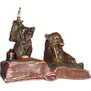 Very Rare Antique Bergmann Bell Push, With Bear And Fox