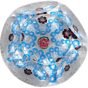 Excellent Antique Clichy Faceted Cinquefoil Millefiori Garland Paperweight
