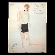 CAROL BURNETT - Edith Head Signed Sketch, Circa 1963