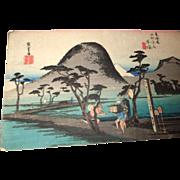 "Color Woodblock Print - ""Hiratsuka"" - By Hiroshige, c 1833/34"
