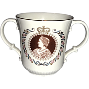 Royal Doulton Loving Cup Commemorating Queen Elizabeth's 80th Birthday, circa 1980