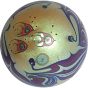 Angel Fish and Sea Anemone In A Glistening Impressionistic Paperweight That Only Lundberg Could Create, Signed, circa 1978.