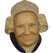 """Bossons Hand-Painted Wall Plaque - """"Bretonne Lady"""" - Congleton, England - Designed By Alice Brindley, C 1980s"""