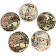 FIVE Small Dishes From England, Johnson Brothers, Signed