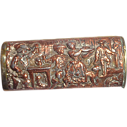 Antique French Match Safe (Vesta) With A Tavern Scene, Multi-Figural, In High Relief