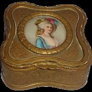 Lovely Continental Porcelain Portrait Inset In Dresser Box