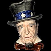 "Royal Winton Rare 6 inch ""Uncle Sam"" Character Jug, Grimwades, Made in England"