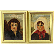 Pair Of Naive Oil Paintings On Canvas  - Girl and Boy - Framed