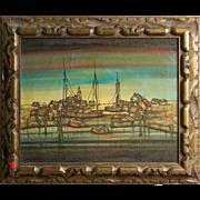 "Hugo Casar (German, b. 1911) Original Oil On Canvas ""Harbor View"""