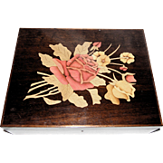 Marquetry Box With Exquisite Inlaid Floral Bouquet - Rigotto & Michels, Brazil