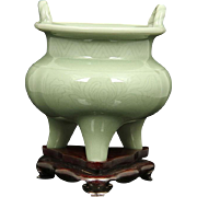 Celadon Censer With Stand From The Estate Of General Alexander Haig, U. S. Secretary of State under President Ronald Reagan.
