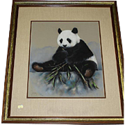 Original Mixed Media Painting Of Panda Eating Bamboo Shoots, Signed Maury (American 20th Century)