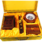 Outstanding FOUR PIECE Set Of Hand-Carved Chinese Huali Wood And Porcelain Items - Brush Washer, Brush Pot, Tea Caddy and Inkstone