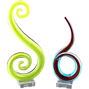 Pair of Murano Abstract Glass Art