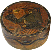 QUIMPER Art Deco Carved Wooden Dresser Box Or Trinket Box With A Woman Having Coffee Painted on Top