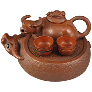 Handmade Chinese Yixing Teapot & Four Cups In The Very Special Zisha Clay