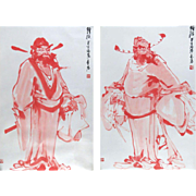 Pair of Chinese Mixed Media Portraits On Scrolls, Signed