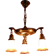 Art Nouveau Brass Chandelier with Zephyr Gold Luster Pattern Shades