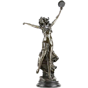 "Signed A. Moreau Marvelous Bronze ""Dancing Nymph"" on Marble Base - 23 inches tall"