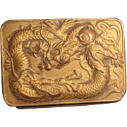 """Unusual Snuff or Patch Box With Dragons, Animals and Symbols, Signed """"Murray's"""""""